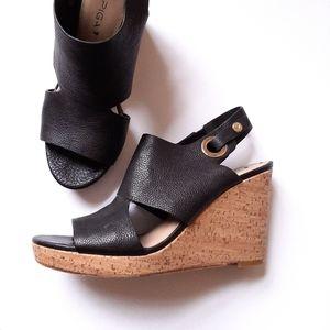 Via Spiga Ray Black Leather Cork Wedge Sandals 8